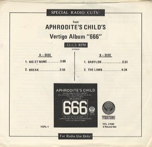 Aphrodite's Child Special Radio Cuts! album cover