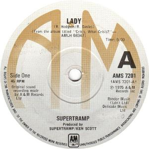 Lady / You Started Laughing When I Held You In My Arms by SUPERTRAMP album cover