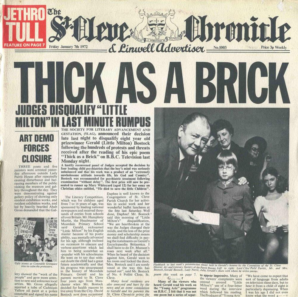 Image result for thick as a brick album cover pics