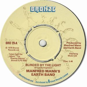 Manfred Mann's Earth Band Blinded By The Light album cover