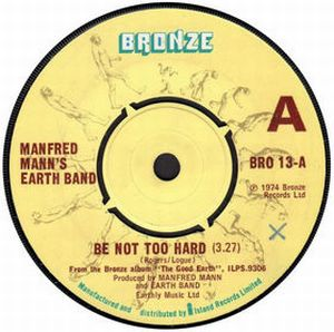 Be Not Too Hard by MANN'S EARTH BAND, MANFRED album cover